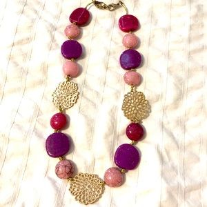 Pink and gold accent necklace
